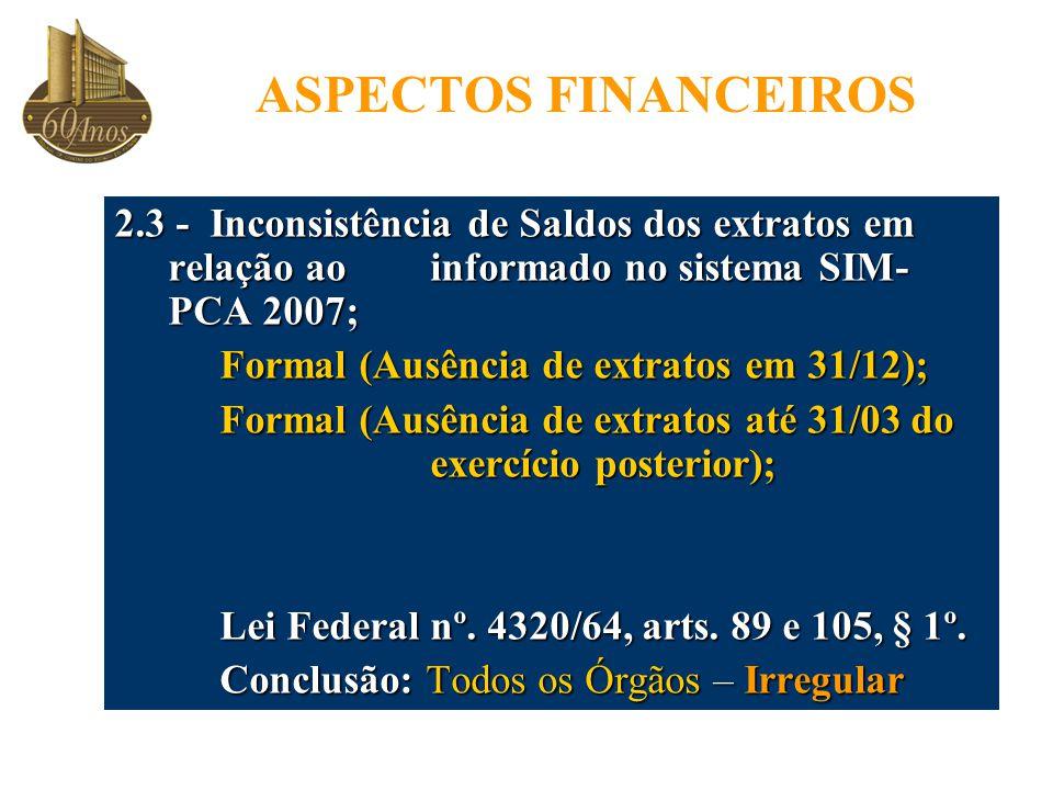 ASPECTOS FINANCEIROS 2.3 - Inconsistência de Saldos dos extratos em relação ao informado no sistema SIM-PCA 2007;