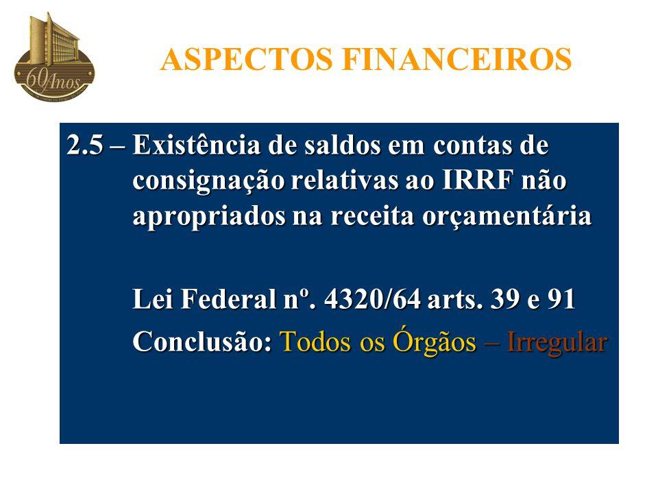 ASPECTOS FINANCEIROS 2.5 – Existência de saldos em contas de consignação relativas ao IRRF não apropriados na receita orçamentária.