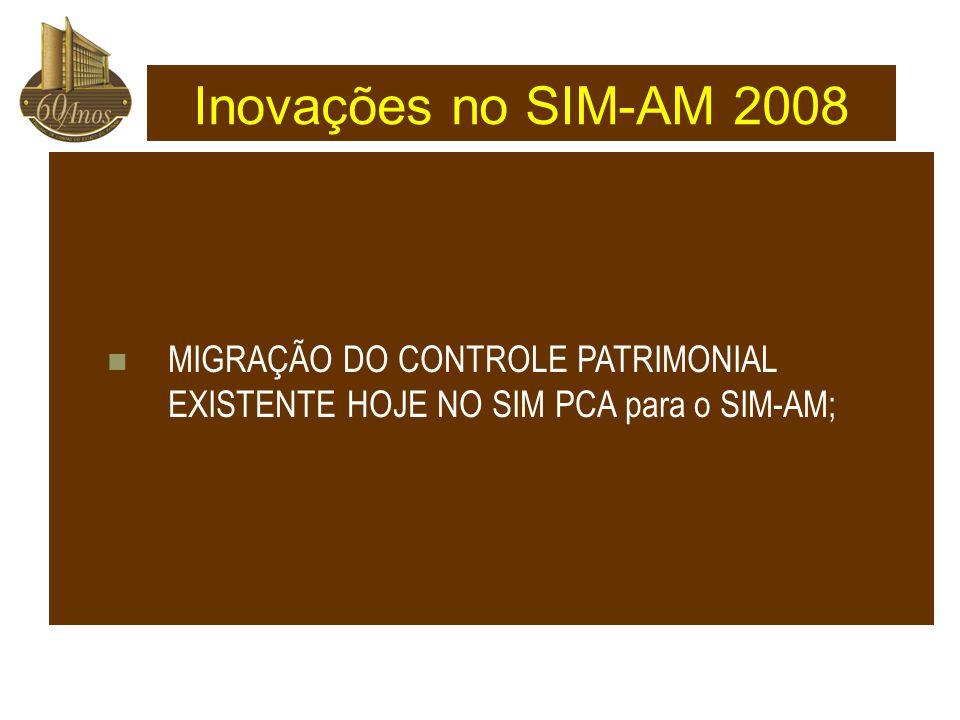 Inovações no SIM-AM 2008 MIGRAÇÃO DO CONTROLE PATRIMONIAL EXISTENTE HOJE NO SIM PCA para o SIM-AM;