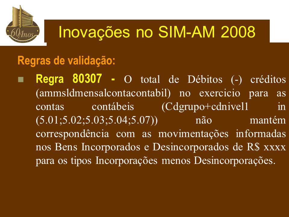 Inovações no SIM-AM 2008 Regras de validação: