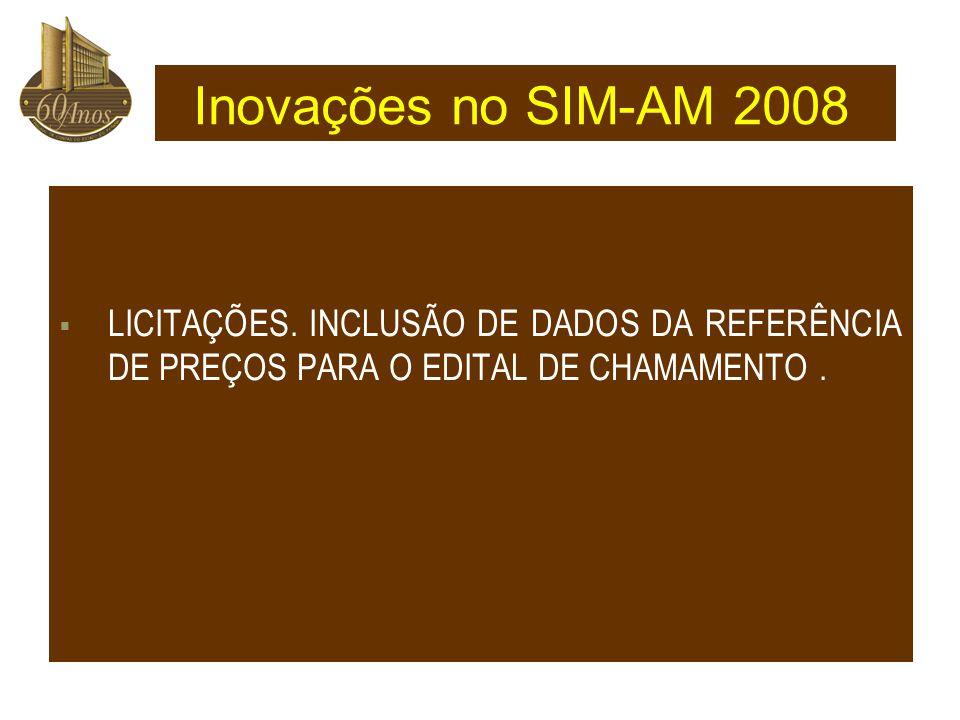 Inovações no SIM-AM 2008 LICITAÇÕES.