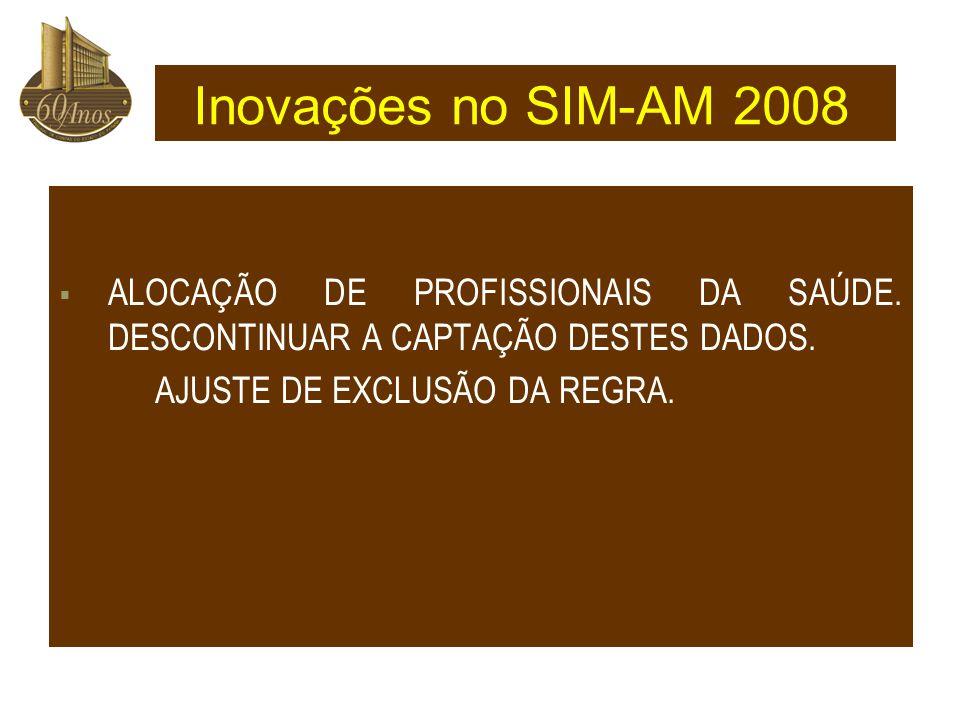 Inovações no SIM-AM 2008 ALOCAÇÃO DE PROFISSIONAIS DA SAÚDE.