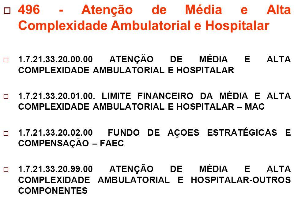 496 - Atenção de Média e Alta Complexidade Ambulatorial e Hospitalar