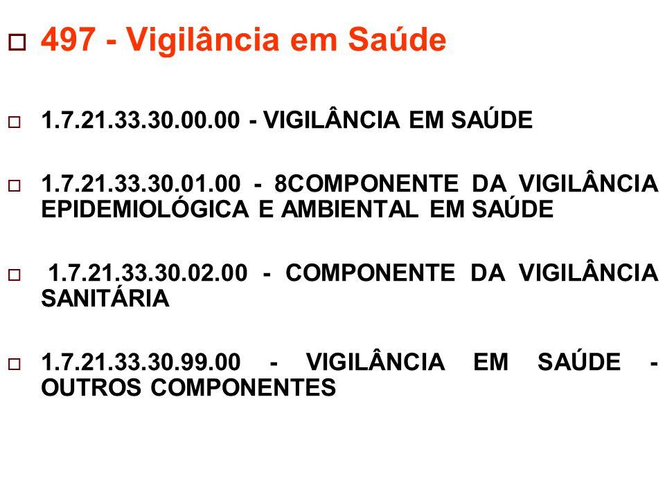 497 - Vigilância em Saúde 1.7.21.33.30.00.00 - VIGILÂNCIA EM SAÚDE