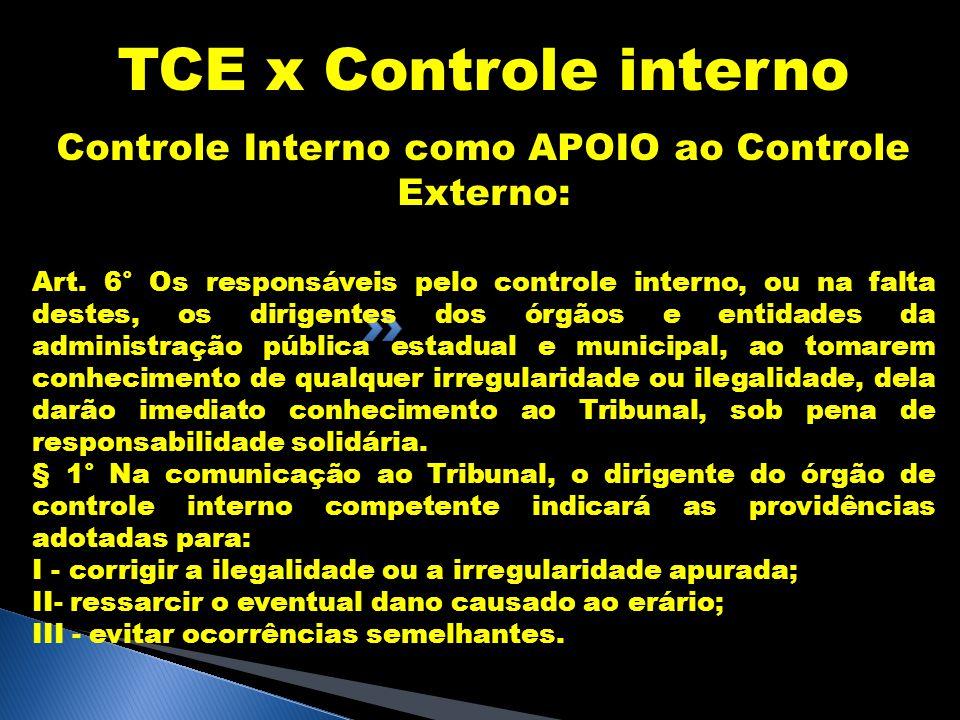Controle Interno como APOIO ao Controle Externo:
