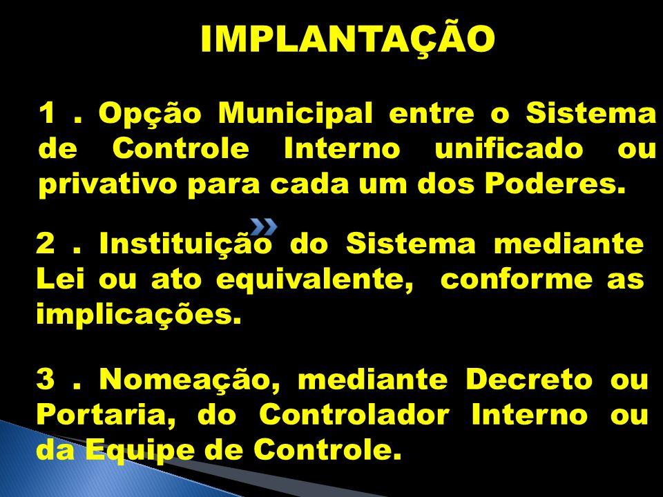 IMPLANTAÇÃO 1 . Opção Municipal entre o Sistema de Controle Interno unificado ou privativo para cada um dos Poderes.