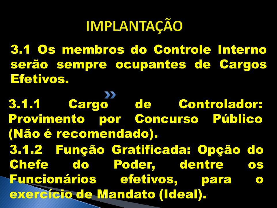 IMPLANTAÇÃO 3.1 Os membros do Controle Interno serão sempre ocupantes de Cargos Efetivos.