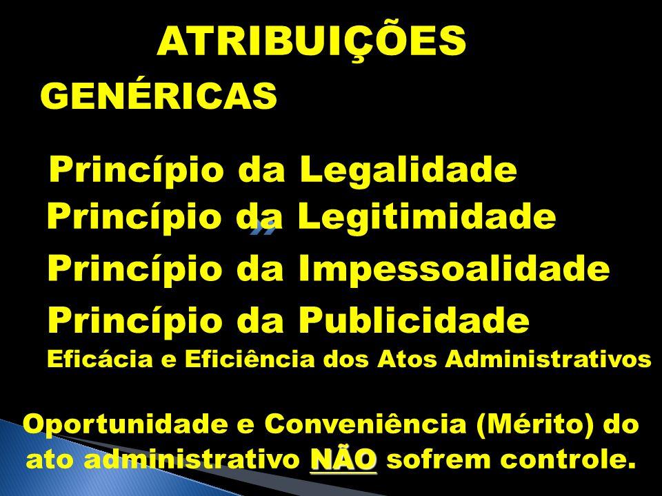 ATRIBUIÇÕES GENÉRICAS Princípio da Legalidade