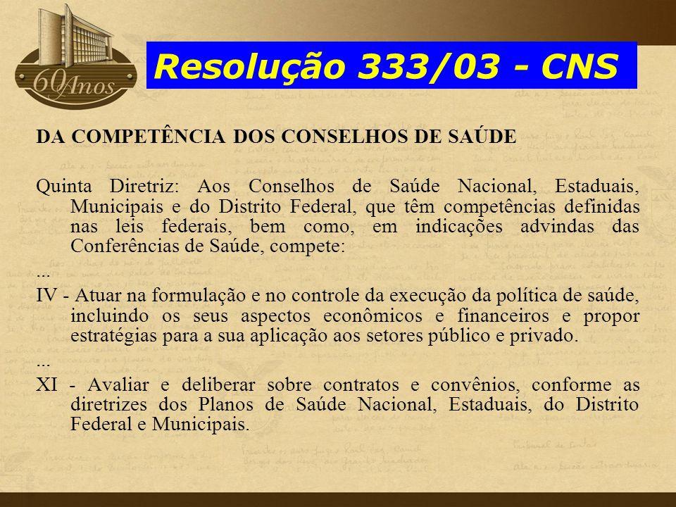 Resolução 333/03 - CNS DA COMPETÊNCIA DOS CONSELHOS DE SAÚDE