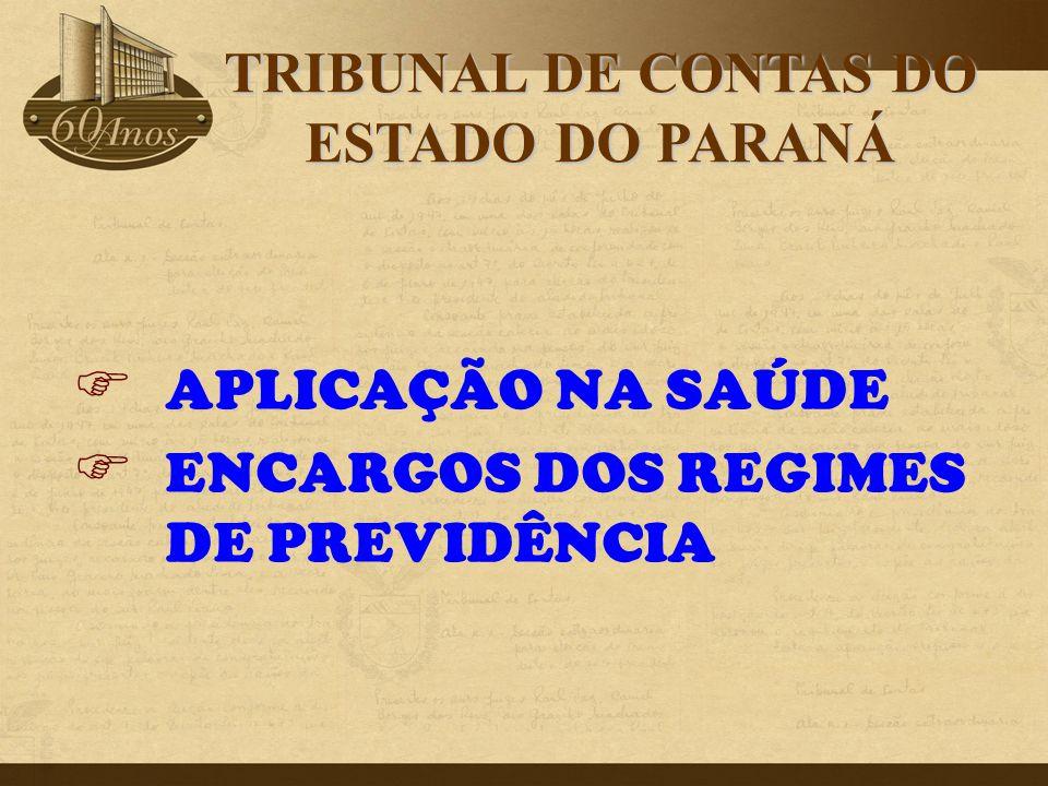 APLICAÇÃO NA SAÚDE ENCARGOS DOS REGIMES DE PREVIDÊNCIA