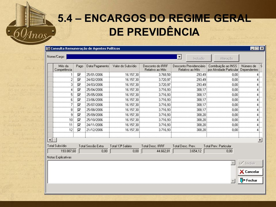 5.4 – ENCARGOS DO REGIME GERAL DE PREVIDÊNCIA