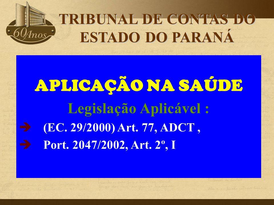 TRIBUNAL DE CONTAS DO ESTADO DO PARANÁ Legislação Aplicável :
