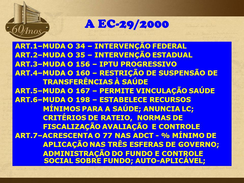 A EC-29/2000 ART.1–MUDA O 34 – INTERVENÇÃO FEDERAL