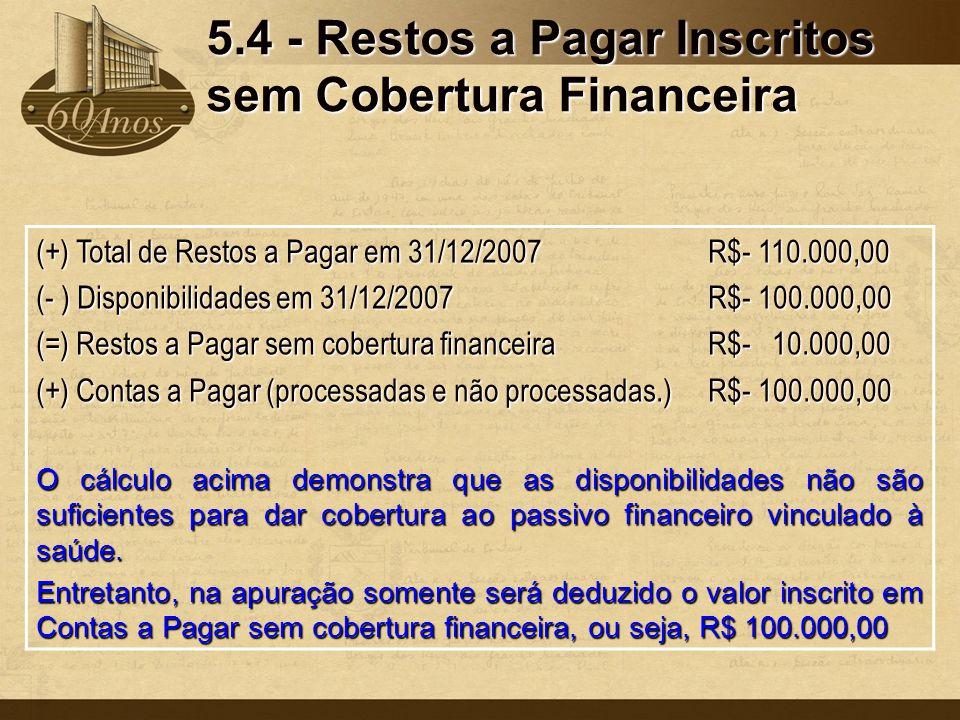 5.4 - Restos a Pagar Inscritos sem Cobertura Financeira