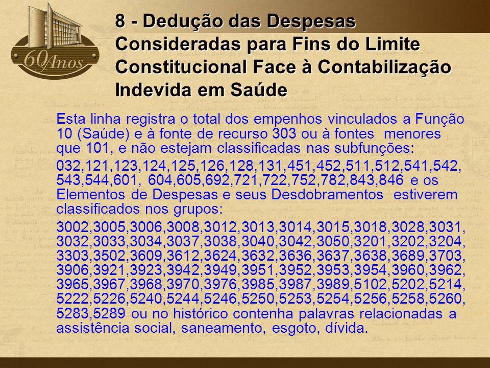 8 - Dedução das Despesas Consideradas para Fins do Limite Constitucional Face à Contabilização Indevida em Saúde