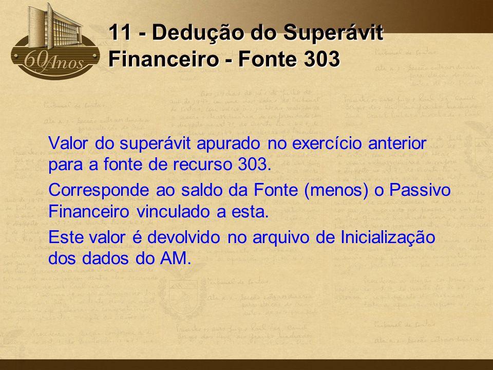 11 - Dedução do Superávit Financeiro - Fonte 303