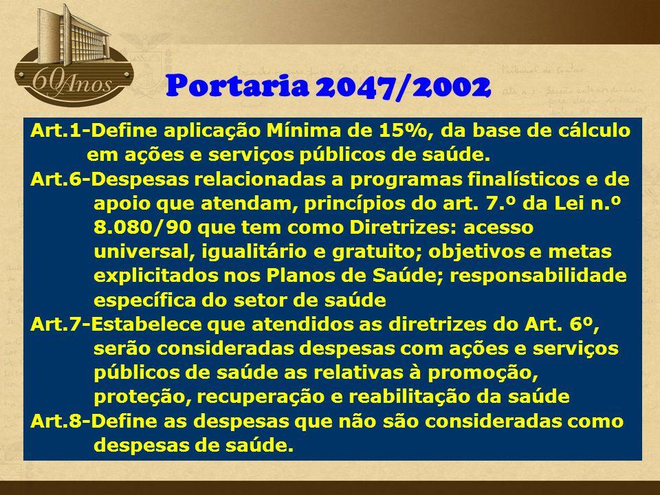 Portaria 2047/2002 Art.1-Define aplicação Mínima de 15%, da base de cálculo. em ações e serviços públicos de saúde.
