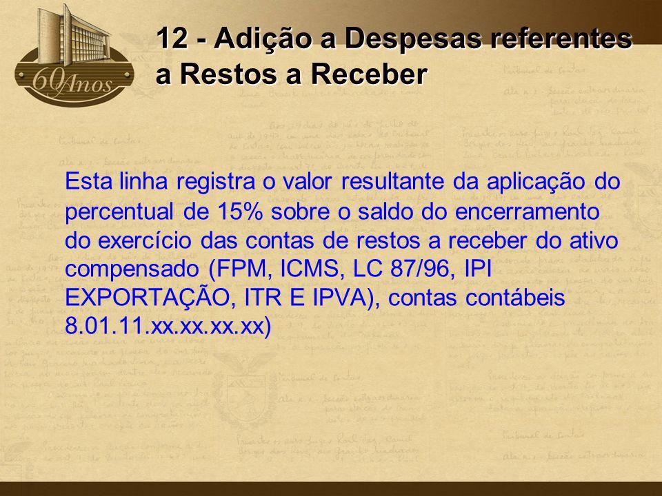 12 - Adição a Despesas referentes a Restos a Receber