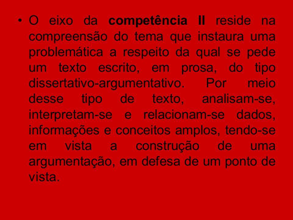 O eixo da competência II reside na compreensão do tema que instaura uma problemática a respeito da qual se pede um texto escrito, em prosa, do tipo dissertativo-argumentativo.