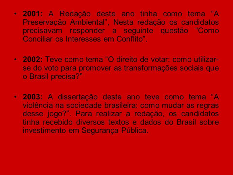 2001: A Redação deste ano tinha como tema A Preservação Ambiental , Nesta redação os candidatos precisavam responder a seguinte questão Como Conciliar os Interesses em Conflito .