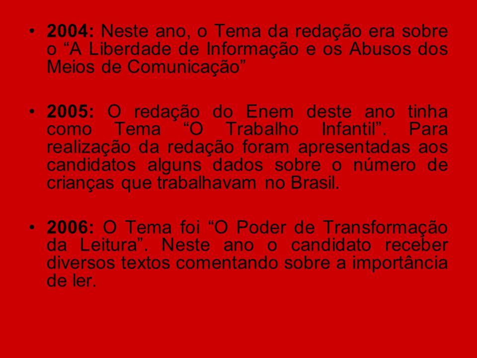 2004: Neste ano, o Tema da redação era sobre o A Liberdade de Informação e os Abusos dos Meios de Comunicação