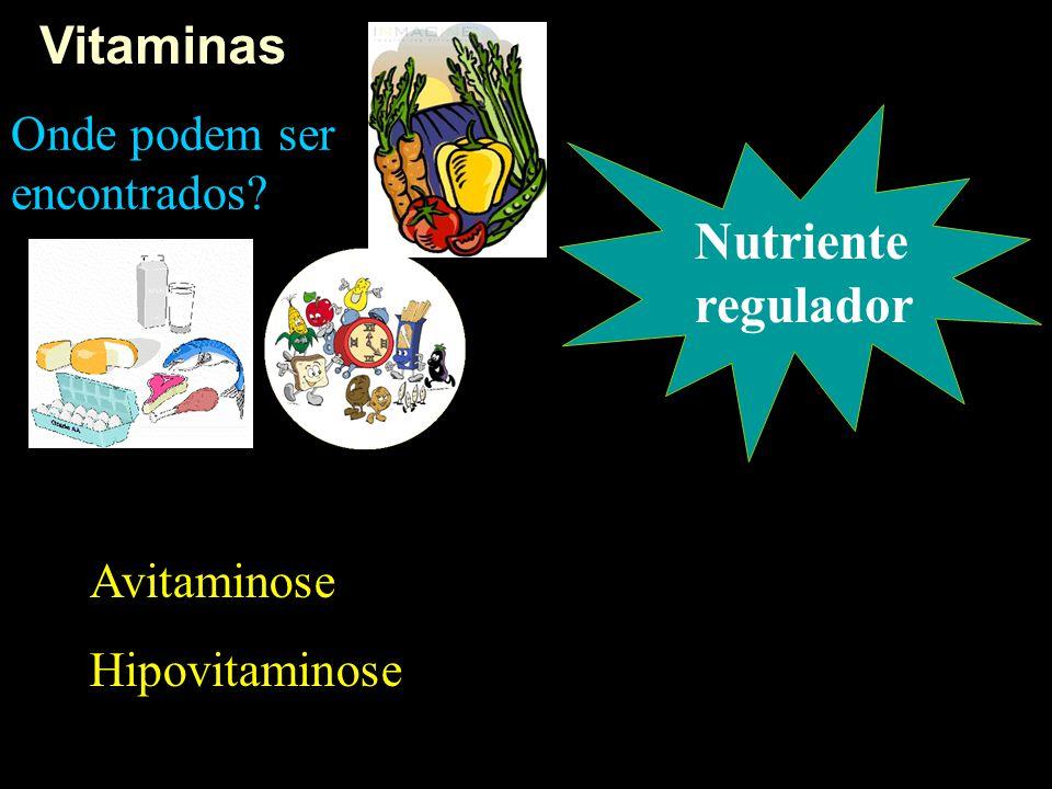 Vitaminas Nutriente regulador Onde podem ser encontrados Avitaminose