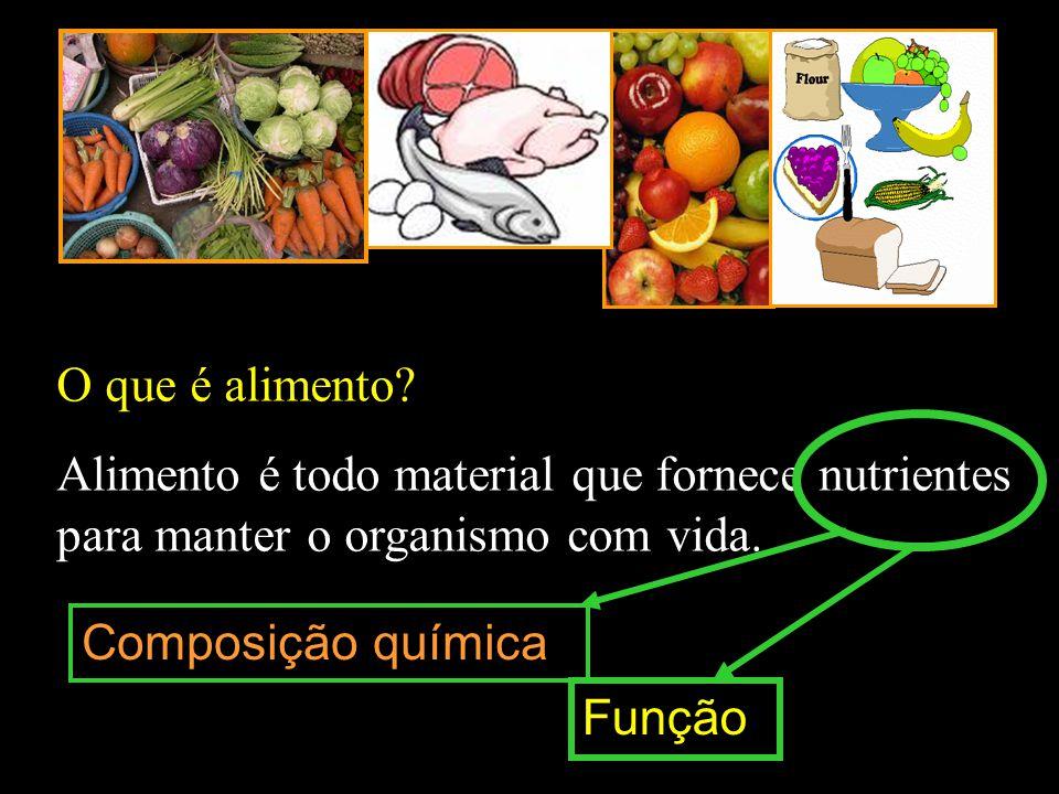 O que é alimento Alimento é todo material que fornece nutrientes para manter o organismo com vida.
