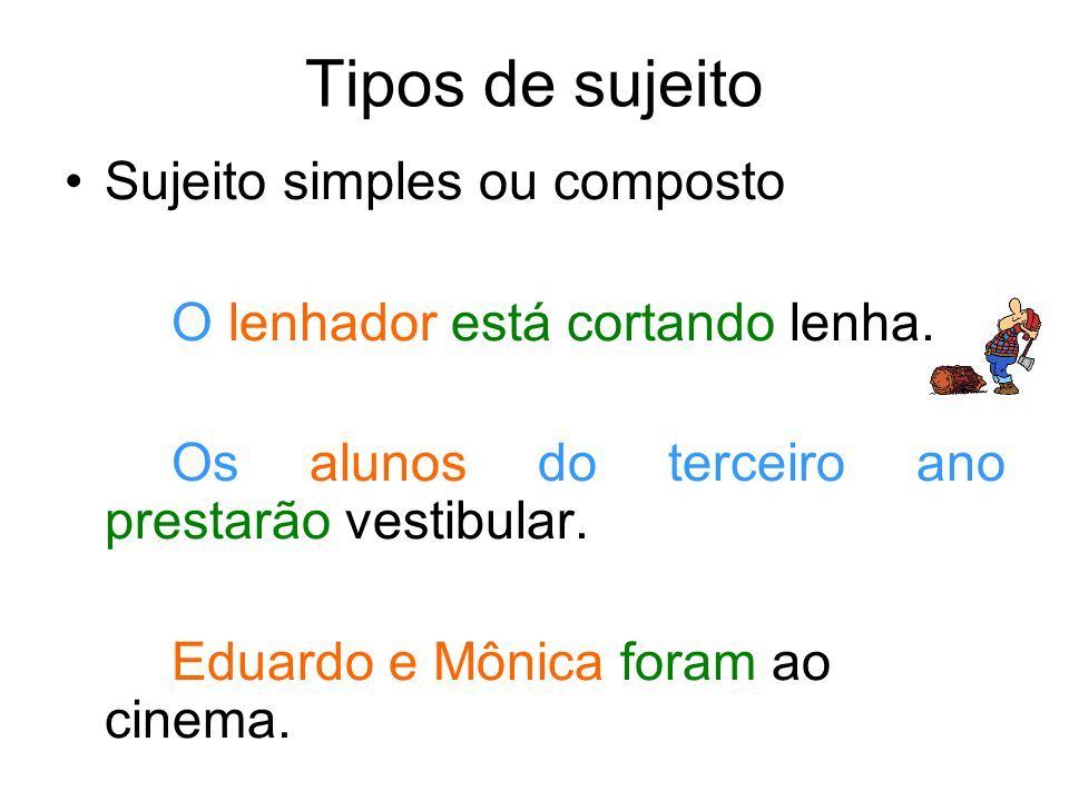 Tipos de sujeito Sujeito simples ou composto