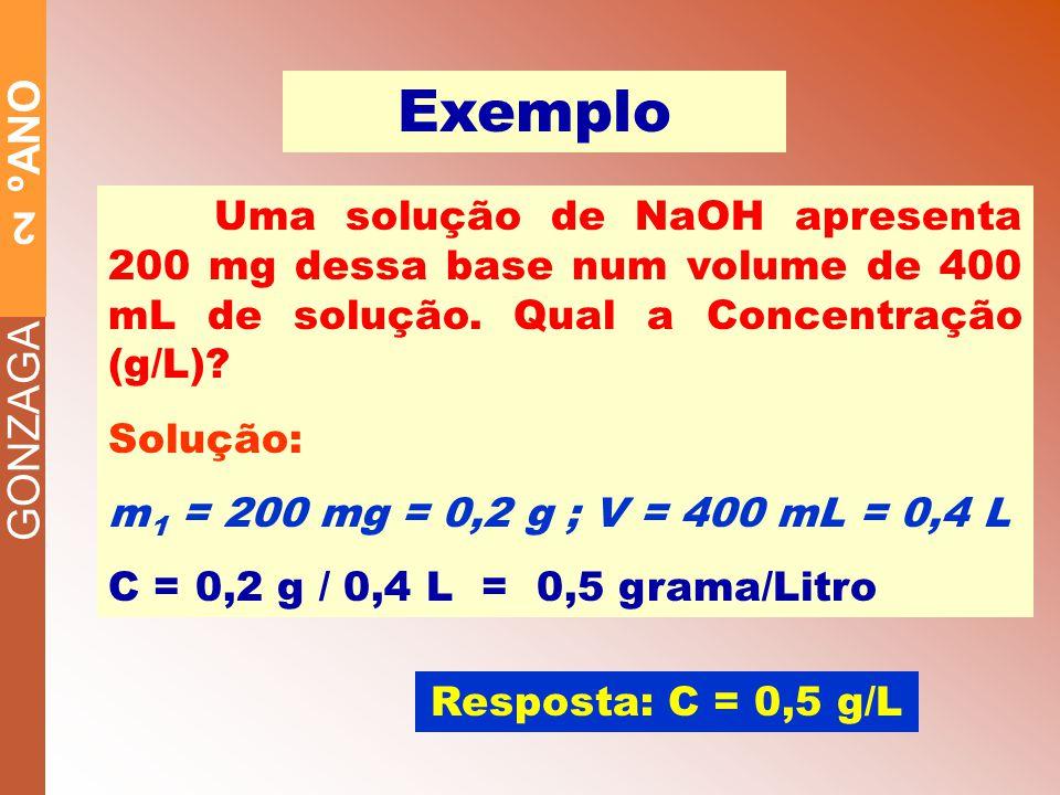 Exemplo Uma solução de NaOH apresenta 200 mg dessa base num volume de 400 mL de solução. Qual a Concentração (g/L)