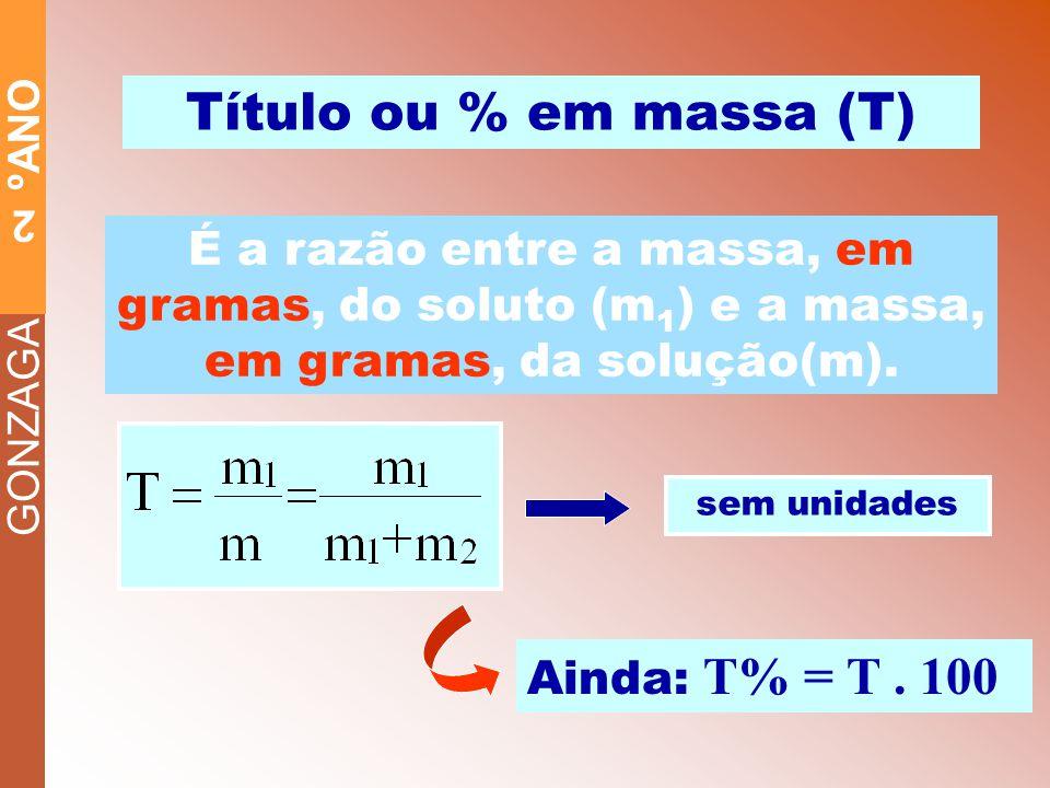 Título ou % em massa (T) É a razão entre a massa, em gramas, do soluto (m1) e a massa, em gramas, da solução(m).