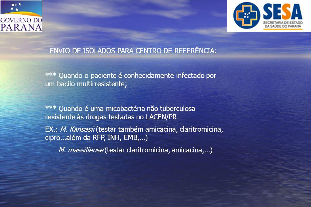 ENVIO DE ISOLADOS PARA CENTRO DE REFERÊNCIA: