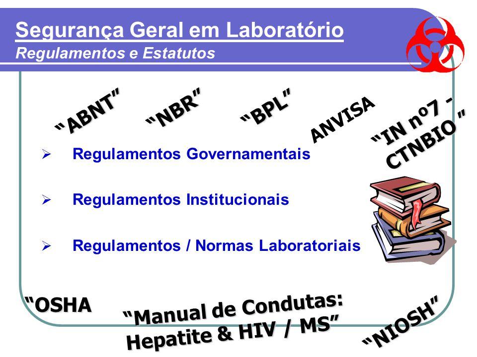 Segurança Geral em Laboratório Regulamentos e Estatutos