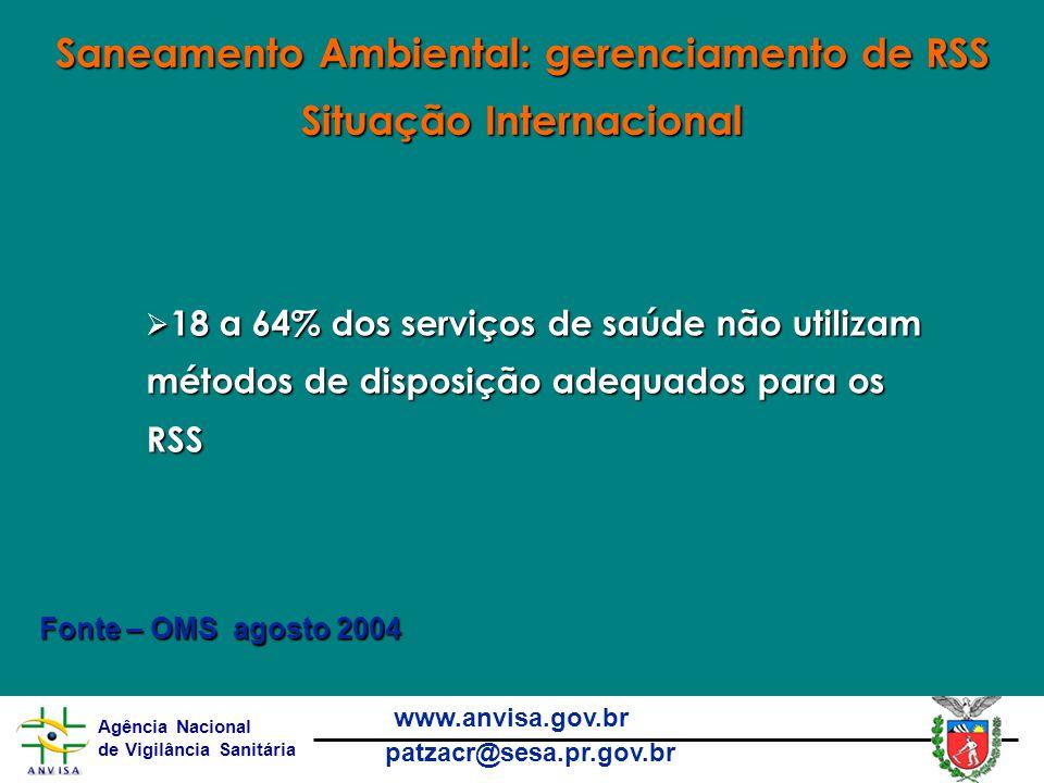 Saneamento Ambiental: gerenciamento de RSS Situação Internacional