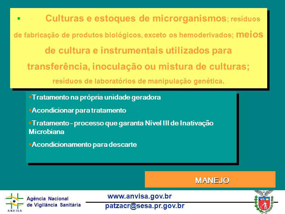 Culturas e estoques de microrganismos; resíduos de fabricação de produtos biológicos, exceto os hemoderivados; meios de cultura e instrumentais utilizados para transferência, inoculação ou mistura de culturas; resíduos de laboratórios de manipulação genética.