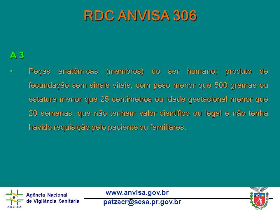 RDC ANVISA 306 A 3.