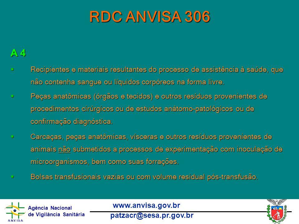 RDC ANVISA 306 A 4.