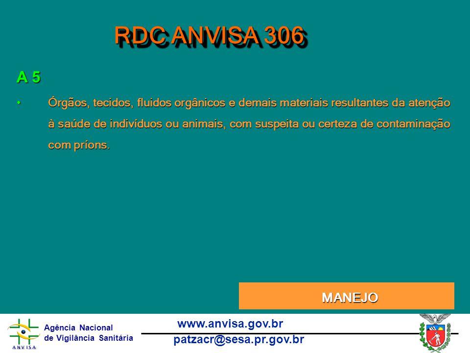 RDC ANVISA 306 A 5.