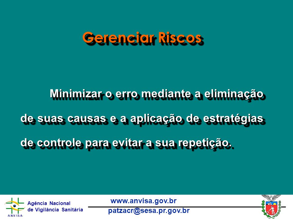 Gerenciar Riscos Minimizar o erro mediante a eliminação de suas causas e a aplicação de estratégias de controle para evitar a sua repetição.
