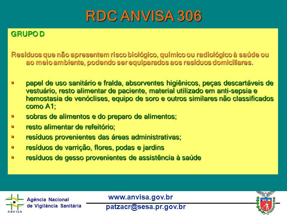 RDC ANVISA 306 GRUPO D.