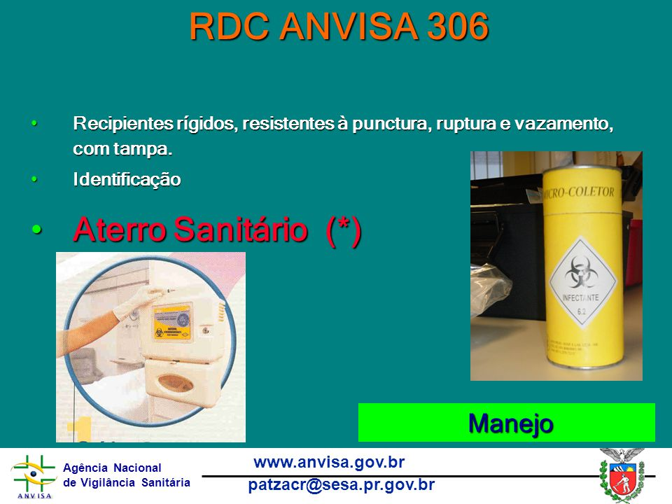 RDC ANVISA 306 Aterro Sanitário (*) Manejo