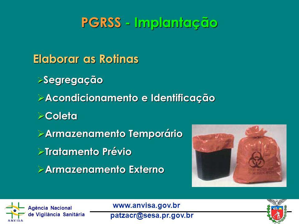 PGRSS - Implantação Elaborar as Rotinas