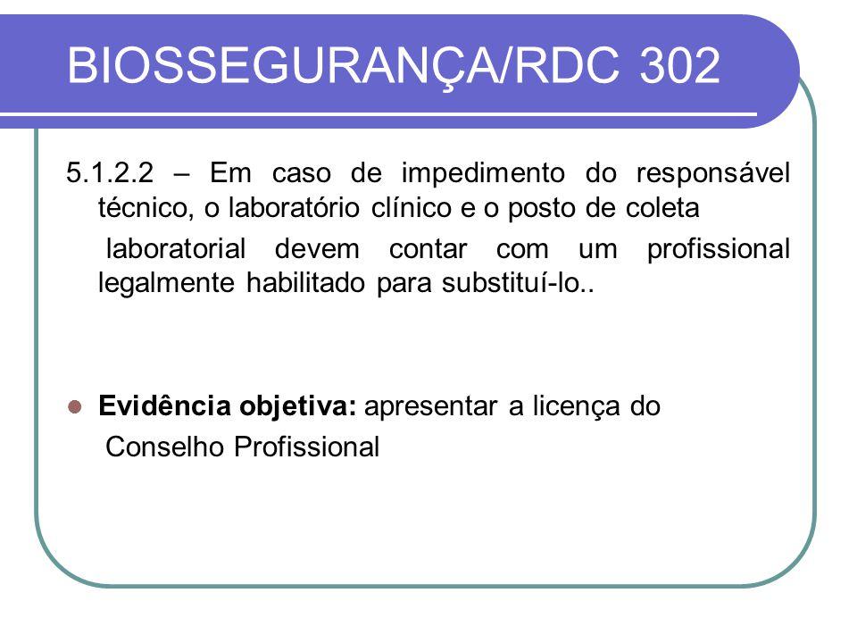 BIOSSEGURANÇA/RDC 302 5.1.2.2 – Em caso de impedimento do responsável técnico, o laboratório clínico e o posto de coleta.