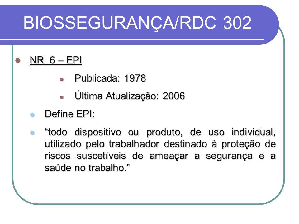 BIOSSEGURANÇA/RDC 302 NR 6 – EPI Publicada: 1978
