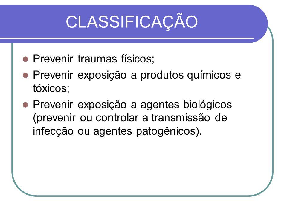 CLASSIFICAÇÃO Prevenir traumas físicos;