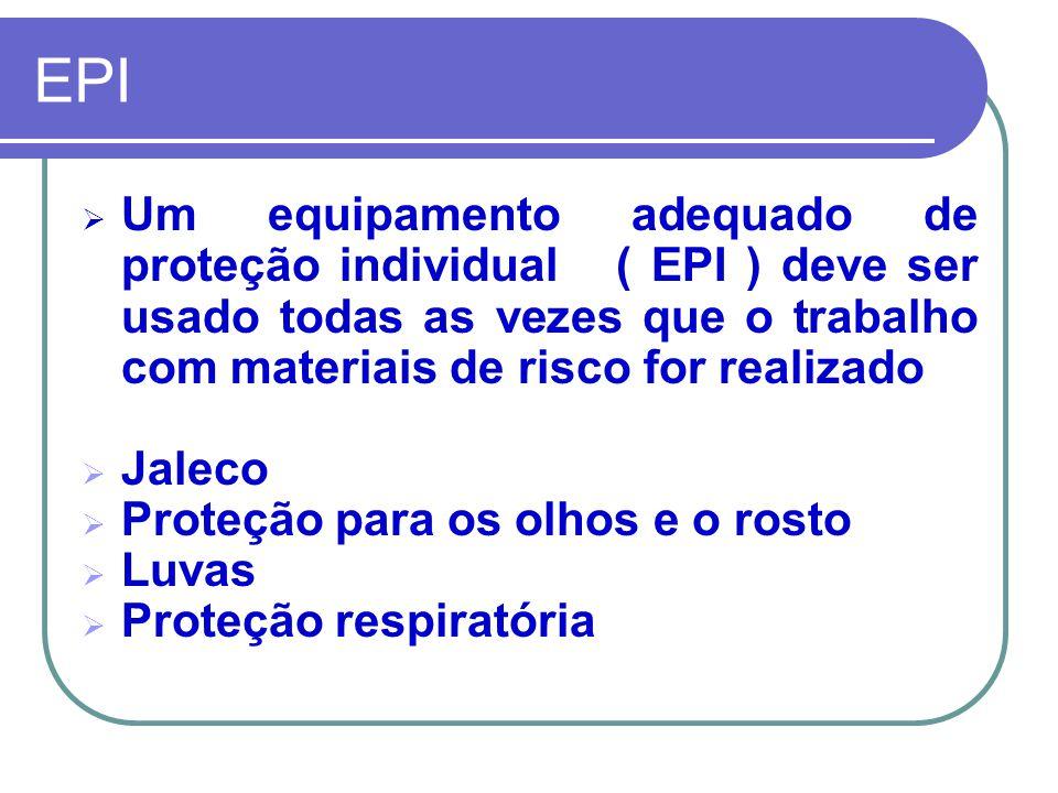 EPI Um equipamento adequado de proteção individual ( EPI ) deve ser usado todas as vezes que o trabalho com materiais de risco for realizado.