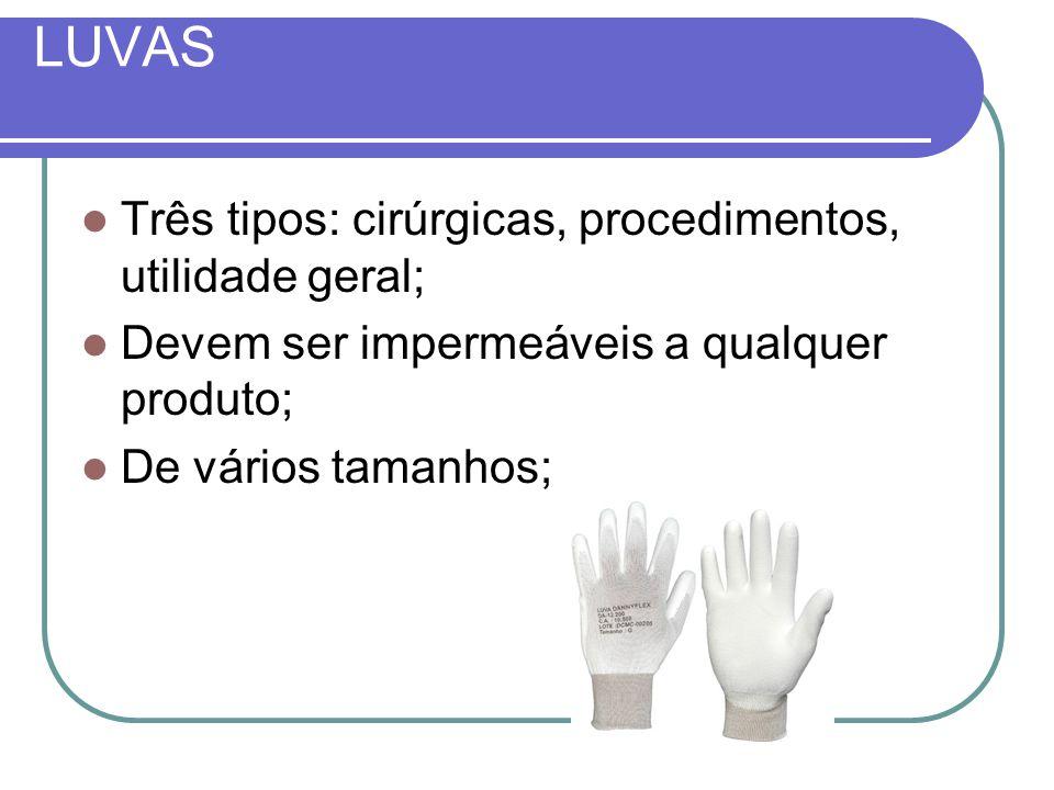 LUVAS Três tipos: cirúrgicas, procedimentos, utilidade geral;