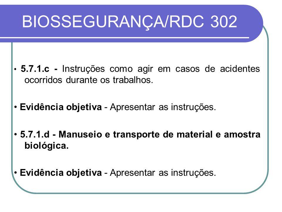 BIOSSEGURANÇA/RDC 302 • Evidência objetiva - Apresentar as instruções.