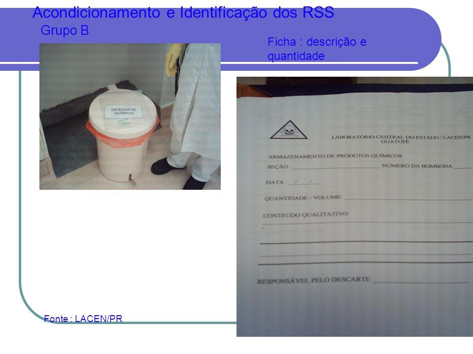 Acondicionamento e Identificação dos RSS