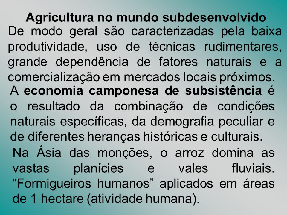 Agricultura no mundo subdesenvolvido
