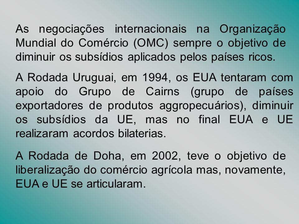 As negociações internacionais na Organização Mundial do Comércio (OMC) sempre o objetivo de diminuir os subsídios aplicados pelos países ricos.
